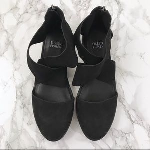 Eileen Fisher Sport Platform Black Sandals 6.5